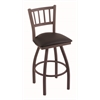 "810 Contessa 36"" Bar Stool with Bronze Finish, Allante Espresso Seat, and 360 swivel"