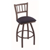 "Holland Bar Stool Co. 810 Contessa 30"" Bar Stool with Bronze Finish, Axis Denim Seat, and 360 swivel"