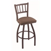 "810 Contessa 30"" Bar Stool with Bronze Finish, Axis Willow Seat, and 360 swivel"