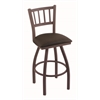 "810 Contessa 30"" Bar Stool with Bronze Finish, Rein Coffee Seat, and 360 swivel"