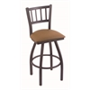 "810 Contessa 30"" Bar Stool with Pewter Finish, Allante Beechwood Seat, and 360 swivel"