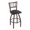"810 Contessa 36"" Bar Stool with Pewter Finish, Allante Dark Blue Seat, and 360 swivel"