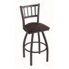"810 Contessa 36"" Bar Stool with Pewter Finish, Allante Espresso Seat, and 360 swivel"