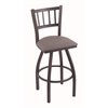 "Holland Bar Stool Co. 810 Contessa 30"" Bar Stool with Pewter Finish, Allante Medium Grey Seat, and 360 swivel"