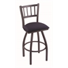 "Holland Bar Stool Co. 810 Contessa 25"" Counter Stool with Pewter Finish, Axis Denim Seat, and 360 swivel"