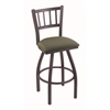 "810 Contessa 30"" Bar Stool with Pewter Finish, Axis Grove Seat, and 360 swivel"