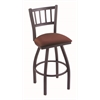 "810 Contessa 36"" Bar Stool with Pewter Finish, Axis Paprika Seat, and 360 swivel"