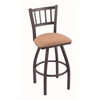 "Holland Bar Stool Co. 810 Contessa 36"" Bar Stool with Pewter Finish, Axis Summer Seat, and 360 swivel"