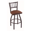 "810 Contessa 30"" Bar Stool with Pewter Finish, Rein Adobe Seat, and 360 swivel"