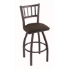 "810 Contessa 25"" Counter Stool with Pewter Finish, Rein Coffee Seat, and 360 swivel"
