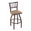 "810 Contessa 36"" Bar Stool with Pewter Finish, Rein Thatch Seat, and 360 swivel"