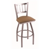 "810 Contessa 36"" Bar Stool with Stainless Finish, Allante Beechwood Seat, and 360 swivel"