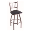 "810 Contessa 30"" Bar Stool with Stainless Finish, Allante Dark Blue Seat, and 360 swivel"
