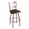 "810 Contessa 30"" Bar Stool with Stainless Finish, Allante Espresso Seat, and 360 swivel"
