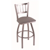 "810 Contessa 36"" Bar Stool with Stainless Finish, Allante Medium Grey Seat, and 360 swivel"
