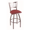 "810 Contessa 36"" Bar Stool with Stainless Finish, Allante Wine Seat, and 360 swivel"