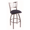 "810 Contessa 36"" Bar Stool with Stainless Finish, Axis Denim Seat, and 360 swivel"