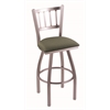 "810 Contessa 30"" Bar Stool with Stainless Finish, Axis Grove Seat, and 360 swivel"