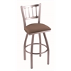 "810 Contessa 36"" Bar Stool with Stainless Finish, Axis Willow Seat, and 360 swivel"