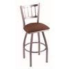 "810 Contessa 36"" Bar Stool with Stainless Finish, Rein Adobe Seat, and 360 swivel"