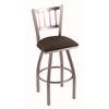 "810 Contessa 36"" Bar Stool with Stainless Finish, Rein Coffee Seat, and 360 swivel"