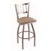 "810 Contessa 30"" Bar Stool with Stainless Finish, Rein Thatch Seat, and 360 swivel"