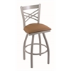 "820 Catalina 30"" Bar Stool with Anodized Nickel Finish, Allante Beechwood Seat, and 360 swivel"