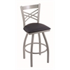 "820 Catalina 30"" Bar Stool with Anodized Nickel Finish, Allante Dark Blue Seat, and 360 swivel"