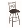 "820 Catalina 30"" Bar Stool with Anodized Nickel Finish, Allante Espresso Seat, and 360 swivel"