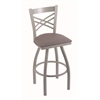 "820 Catalina 36"" Bar Stool with Anodized Nickel Finish, Allante Medium Grey Seat, and 360 swivel"