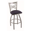 "820 Catalina 30"" Bar Stool with Anodized Nickel Finish, Axis Denim Seat, and 360 swivel"