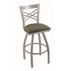 "820 Catalina 30"" Bar Stool with Anodized Nickel Finish, Axis Grove Seat, and 360 swivel"