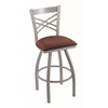 "820 Catalina 30"" Bar Stool with Anodized Nickel Finish, Axis Paprika Seat, and 360 swivel"