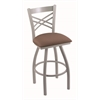 "Holland Bar Stool Co. 820 Catalina 25"" Counter Stool with Anodized Nickel Finish, Axis Willow Seat, and 360 swivel"