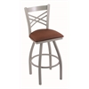 "820 Catalina 30"" Bar Stool with Anodized Nickel Finish, Rein Adobe Seat, and 360 swivel"