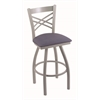 "820 Catalina 30"" Bar Stool with Anodized Nickel Finish, Rein Bay Seat, and 360 swivel"