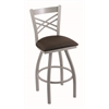 "Holland Bar Stool Co. 820 Catalina 25"" Counter Stool with Anodized Nickel Finish, Rein Coffee Seat, and 360 swivel"