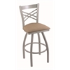 "820 Catalina 30"" Bar Stool with Anodized Nickel Finish, Rein Thatch Seat, and 360 swivel"