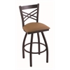 "Holland Bar Stool Co. 820 Catalina 25"" Counter Stool with Black Wrinkle Finish, Allante Beechwood Seat, and 360 swivel"