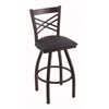 "Holland Bar Stool Co. 820 Catalina 30"" Bar Stool with Black Wrinkle Finish, Allante Dark Blue Seat, and 360 swivel"