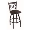 "820 Catalina 30"" Bar Stool with Black Wrinkle Finish, Allante Espresso Seat, and 360 swivel"