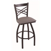 "820 Catalina 30"" Bar Stool with Black Wrinkle Finish, Allante Medium Grey Seat, and 360 swivel"