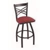 "820 Catalina 30"" Bar Stool with Black Wrinkle Finish, Allante Wine Seat, and 360 swivel"