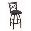 "820 Catalina 30"" Bar Stool with Black Wrinkle Finish, Axis Denim Seat, and 360 swivel"