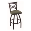 "Holland Bar Stool Co. 820 Catalina 30"" Bar Stool with Black Wrinkle Finish, Axis Grove Seat, and 360 swivel"