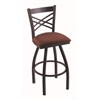"Holland Bar Stool Co. 820 Catalina 30"" Bar Stool with Black Wrinkle Finish, Axis Paprika Seat, and 360 swivel"