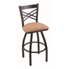 "Holland Bar Stool Co. 820 Catalina 30"" Bar Stool with Black Wrinkle Finish, Axis Summer Seat, and 360 swivel"