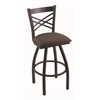 "820 Catalina 30"" Bar Stool with Black Wrinkle Finish, Axis Truffle Seat, and 360 swivel"