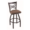 "Holland Bar Stool Co. 820 Catalina 25"" Counter Stool with Black Wrinkle Finish, Axis Willow Seat, and 360 swivel"