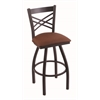 "Holland Bar Stool Co. 820 Catalina 30"" Bar Stool with Black Wrinkle Finish, Rein Adobe Seat, and 360 swivel"
